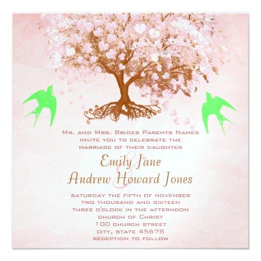 Invitaciones del boda del árbol de la hoja del ros comunicado