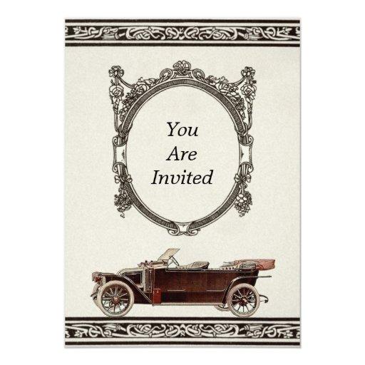 """Invitaciones del boda del automóvil del vintage invitación 5"""" x 7"""""""