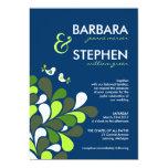 Invitaciones del boda del azul y de la verde menta comunicados