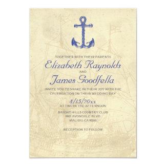 Invitaciones del boda del barco del vintage invitación