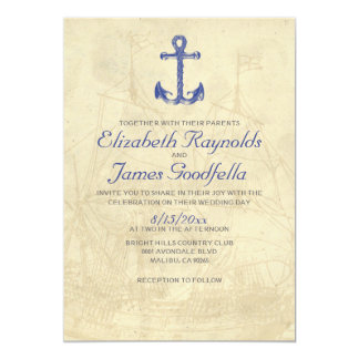 """Invitaciones del boda del barco del vintage invitación 5"""" x 7"""""""