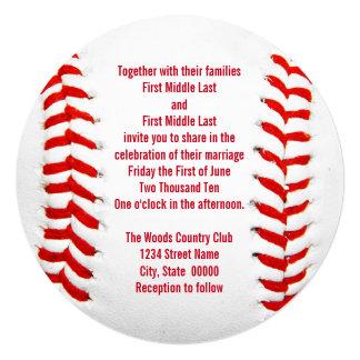 """Invitaciones del boda del béisbol invitación 5.25"""" x 5.25"""""""