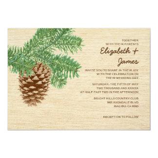 Invitaciones del boda del cono del pino del anuncio personalizado