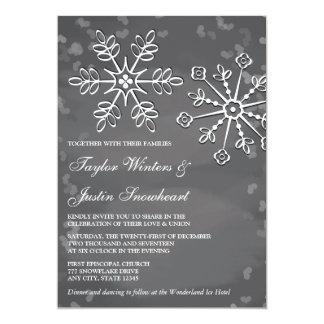 Invitaciones del boda del copo de nieve de la invitación 12,7 x 17,8 cm