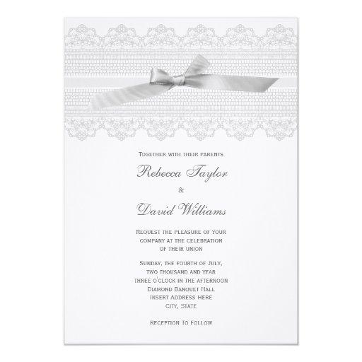 Invitaciones del boda del cordón y de la cinta invitación 12,7 x 17,8 cm