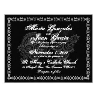 Invitaciones del boda del cráneo del azúcar comunicado personal