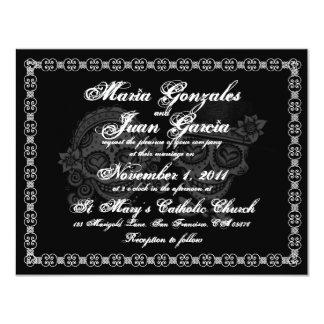 Invitaciones del boda del cráneo del azúcar invitación 10,8 x 13,9 cm