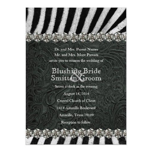 Invitaciones del boda del cuero del negro del comunicados personales