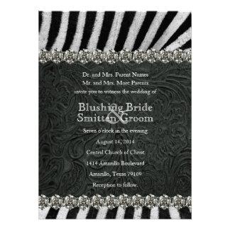 Invitaciones del boda del cuero del negro del diam comunicados personales