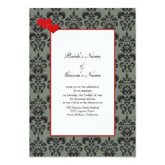 """Invitaciones del boda del damasco con el anfitrión invitación 5"""" x 7"""""""