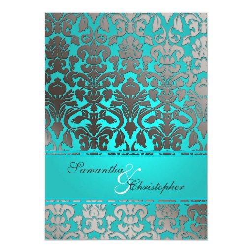 Invitaciones del boda del damasco de la flora de comunicados personalizados