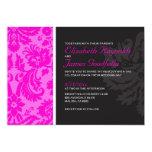 Invitaciones del boda del damasco de las rosas comunicados personalizados