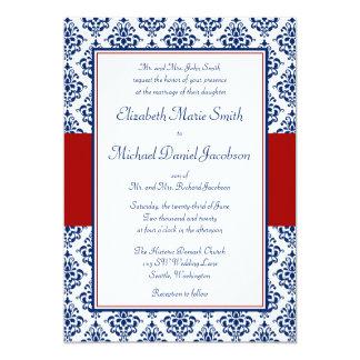Invitaciones del boda del damasco de los azules invitación 12,7 x 17,8 cm