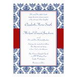 Invitaciones del boda del damasco de los azules ma