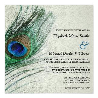 Invitaciones del boda del damasco del pavo real invitación 13,3 cm x 13,3cm