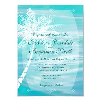 Invitaciones del boda del destino de la playa de anuncio