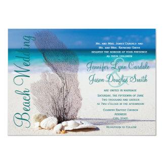 """Invitaciones del boda del destino de los Seashells Invitación 4.5"""" X 6.25"""""""