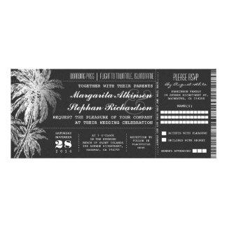 Invitaciones del boda del destino del boleto de la