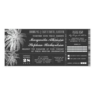 """Invitaciones del boda del destino del boleto de la invitación 4"""" x 9.25"""""""