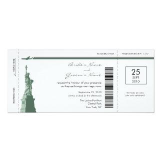 """Invitaciones del boda del documento de embarque de invitación 4"""" x 9.25"""""""