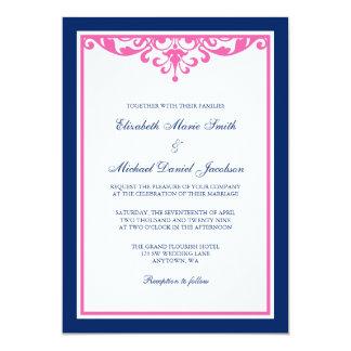 """Invitaciones del boda del Flourish de los azules Invitación 5"""" X 7"""""""
