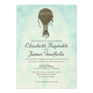 Invitaciones del boda del globo del aire caliente