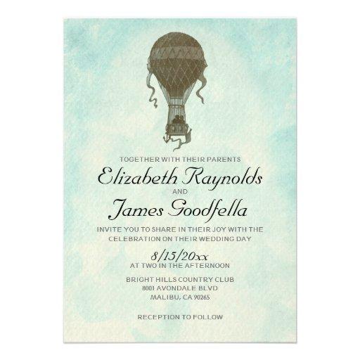 Invitaciones del boda del globo del aire caliente  invitacion personalizada