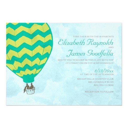 Invitaciones del boda del globo del aire caliente anuncio
