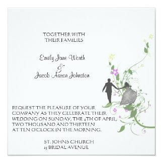 """Invitaciones del boda del jardín de novia y del invitación 5.25"""" x 5.25"""""""