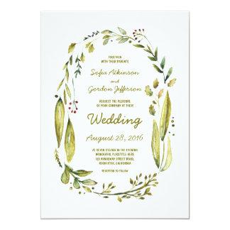 """invitaciones del boda del laurel de la acuarela invitación 5"""" x 7"""""""
