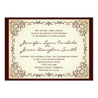 """Invitaciones del boda del marco de la voluta del invitación 5"""" x 7"""""""