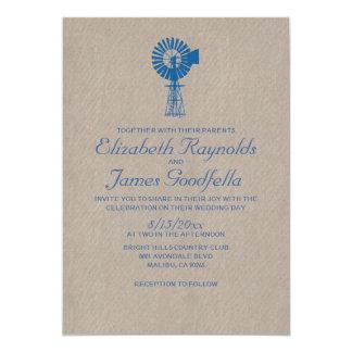 Invitaciones del boda del molino de viento del invitación 12,7 x 17,8 cm