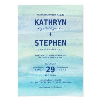 Invitaciones del boda del océano de la acuarela invitación