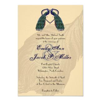 Invitaciones del boda del pavo real del vintage comunicado personal