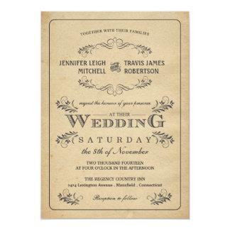 """Invitaciones del boda del pergamino del Flourish Invitación 5"""" X 7"""""""
