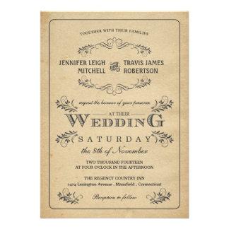 Invitaciones del boda del pergamino del Flourish d Comunicado Personal