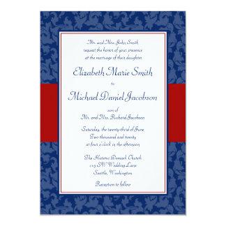 Invitaciones del boda del remolino del damasco de invitación 12,7 x 17,8 cm