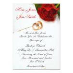 invitaciones del boda del rosa rojo comunicados personalizados