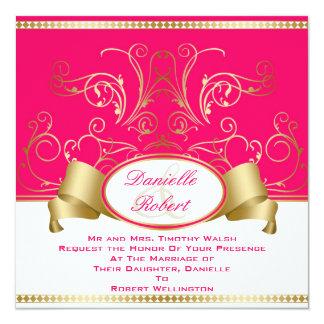 Invitaciones del boda del rosa y del remolino de invitacion personalizada