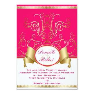 Invitaciones del boda del rosa y del remolino de anuncio