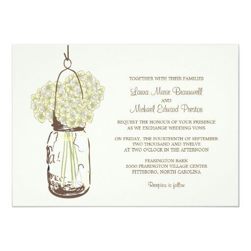 Invitaciones del boda del tarro del Hydrangea y de Invitación 12,7 X 17,8 Cm