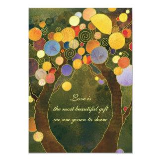 Invitaciones del boda del tema del árbol del verde invitación 12,7 x 17,8 cm