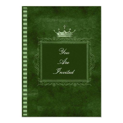 Invitaciones del boda del verde del marco invitación 12,7 x 17,8 cm