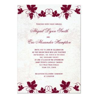 Invitaciones del boda del viñedo invitación 12,7 x 17,8 cm