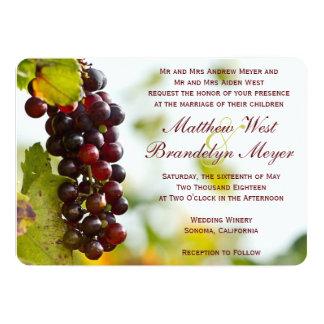Invitaciones del boda del viñedo de las uvas del invitación 12,7 x 17,8 cm