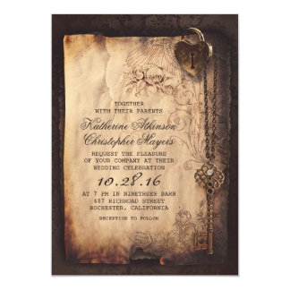 """invitaciones del boda del vintage de la llave invitación 5"""" x 7"""""""
