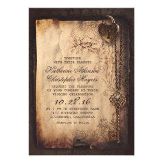 invitaciones del boda del vintage de la llave maes