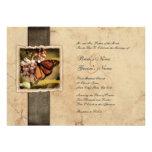 Invitaciones del boda del vintage de la mariposa d invitacion personalizada