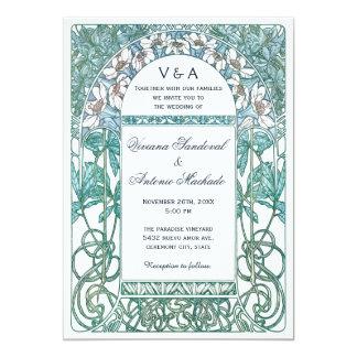 """Invitaciones del boda del vintage de Nouveau del Invitación 5"""" X 7"""""""