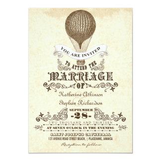 invitaciones del boda del vintage del globo del invitacion personalizada